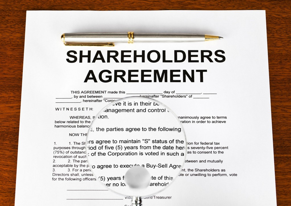 Shareholders agreement on table